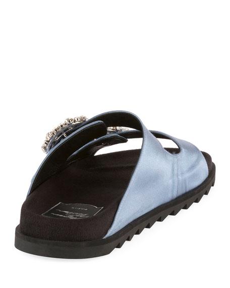 Slidy Viv Satin Strass Buckle Slide Sandal