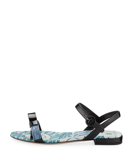 Flat Patent Logo Ribbon Sandal