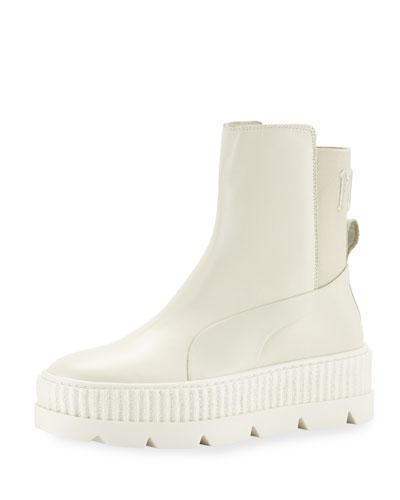 Platform Chelsea Sneaker Boot, White