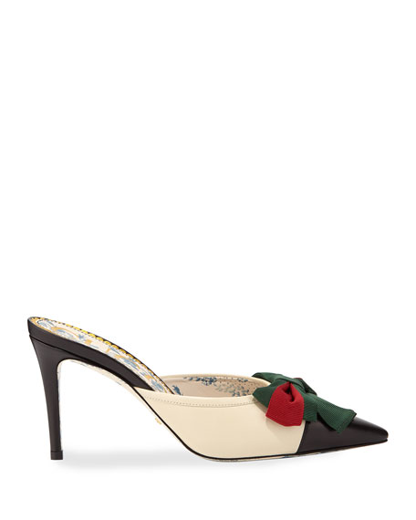 Leather Cap-Toe Mule with Web Bow