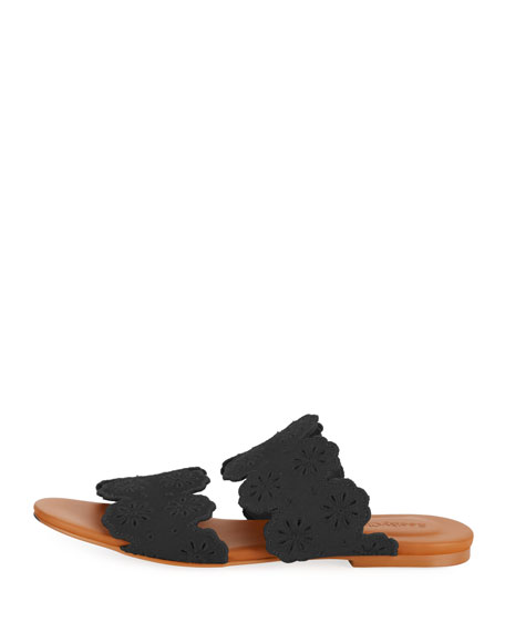 Cutout Floral Flat Two-Band Slide Sandal