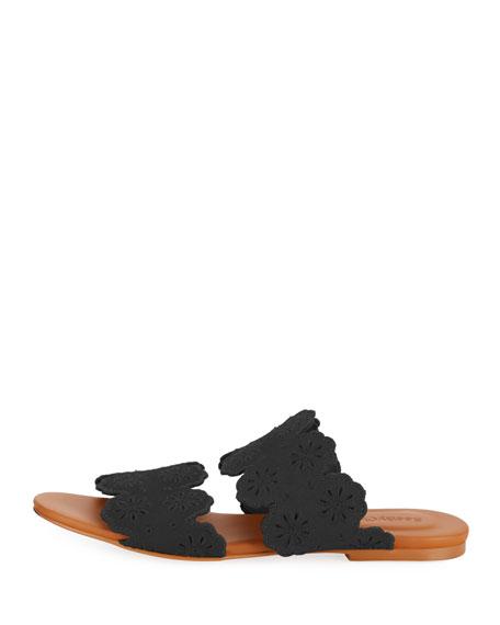Cutout Floral Flat Two-Band Slide Sandal