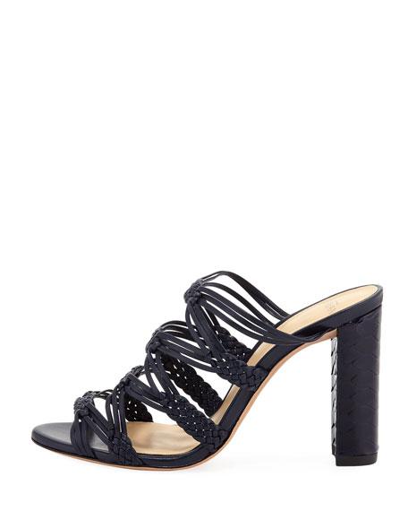 Monalissa Braided Leather Mule Sandal, Navy