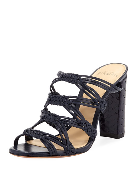 Monalissa Braided Leather Mule Sandal, Navy