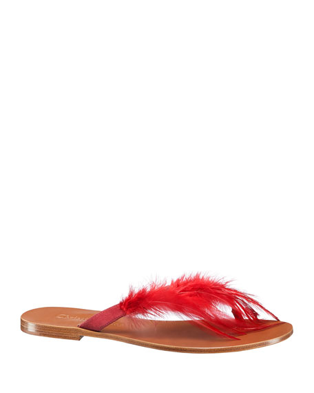"""""""Ethnie"""" Feather Thong Sandal"""