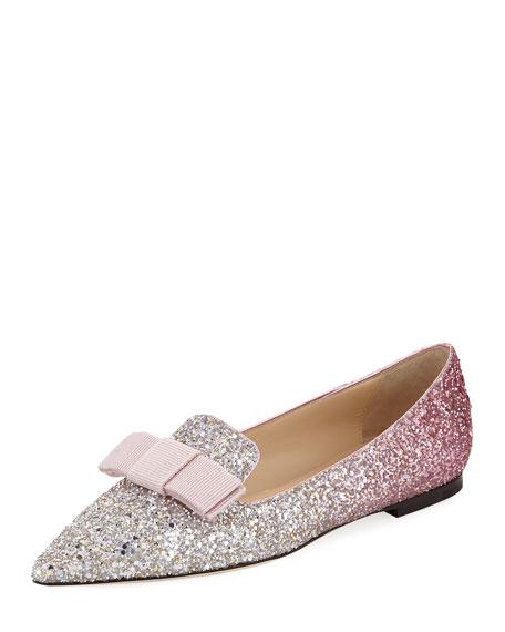 Jimmy Choo Pink Glitter Gala Star Loafers RDAmM7NHz