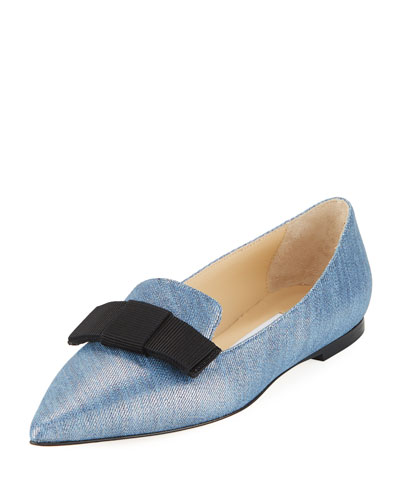 Gala Metallic Denim Flat