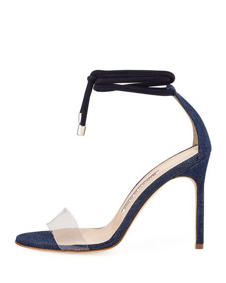 Estro Fabric & PVC Ankle-Wrap Sandal