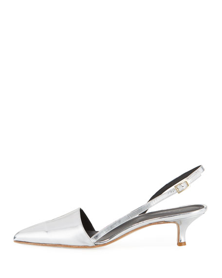 Simon Metallic Slingback Low-Heel Pump