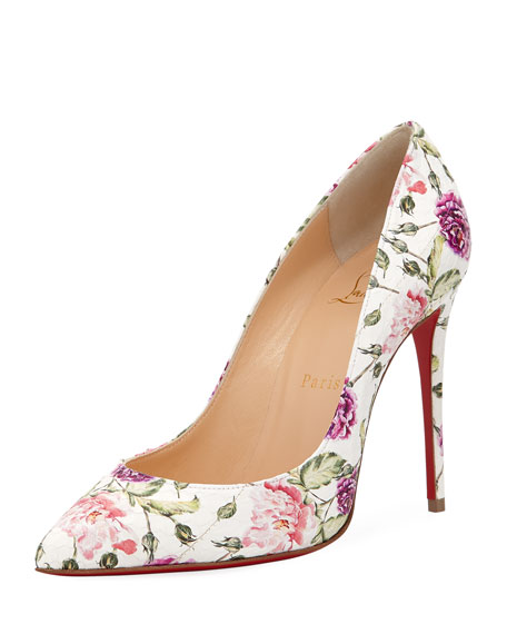 Pigalle Follies Floral-Print Red Sole Pump
