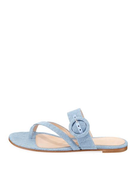 Strappy Flat Denim Slide Sandal
