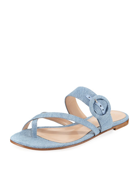 STRAPPY FLAT DENIM SLIDE SANDAL