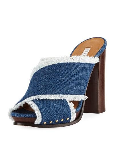 Holt Frayed Denim Block-Heel Sandal