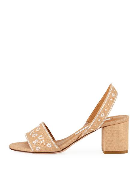 Brea Embroidered Linen Slingback Sandals