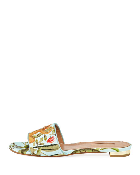 De Gournay Jacquard Flat Sandal
