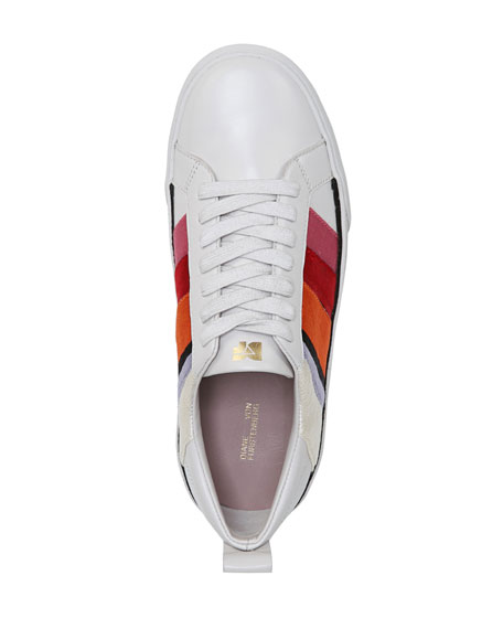 Tess-3 Striped Leather Lace-Up Sneakers