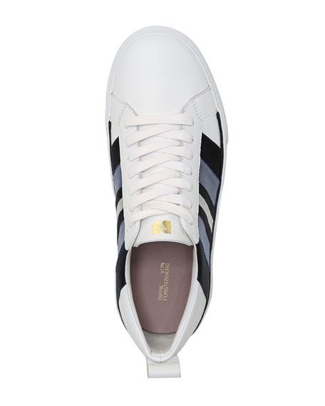 Tess-2 Striped Leather Lace-Up Sneakers