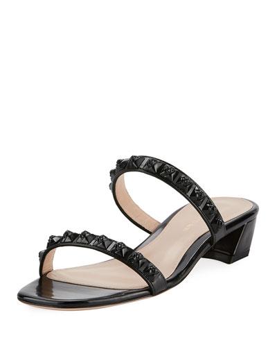 Stella Studded Two-Band Block-Heel Sandal, Black