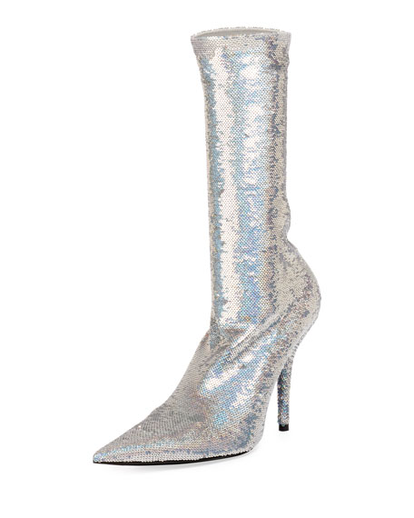 Sequin Sock Calf-High Bootie