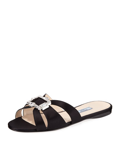 Flat Slide Sandal with Jeweled Buckle