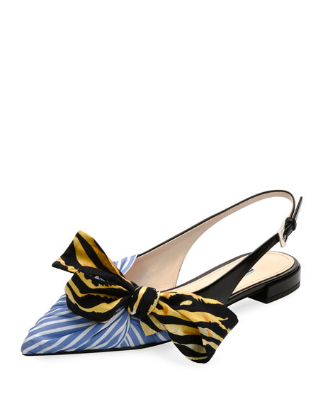Slingback Flat with Printed Bow, Blue