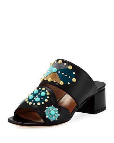 Relena Studded Leather Mule Sandal