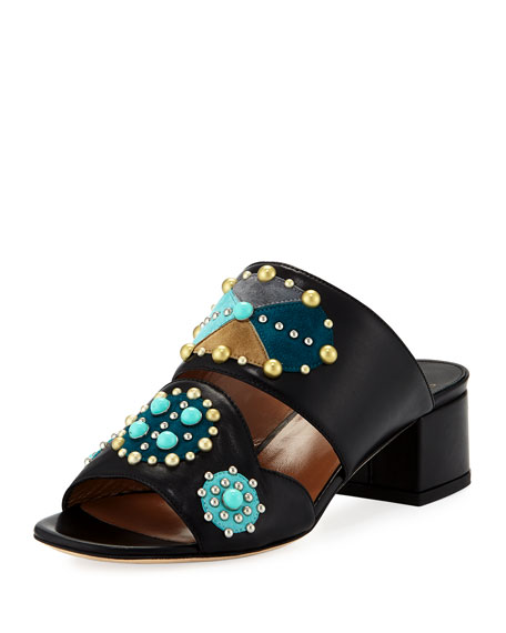 Relena Studded Leather Mule Sandal