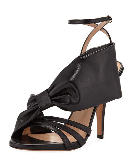 Large Bow Leather Sandal