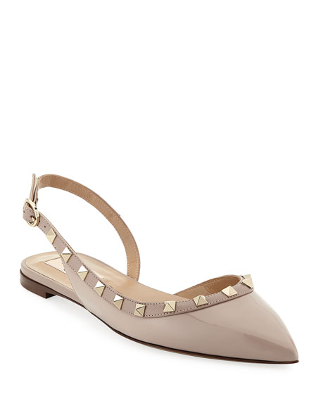 12b39573bbc Valentino Garavani Vernice Rockstud Slingback Ballet Flats