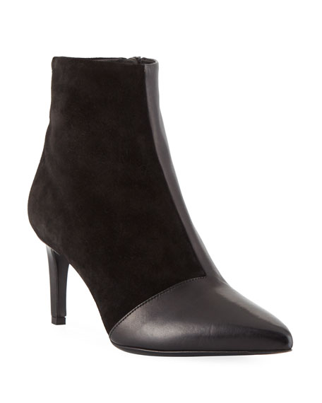 Beha Mixed Leather & Suede Zip-Up Booties