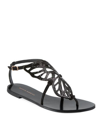 Bibi Butterfly Flat Sandals  Black