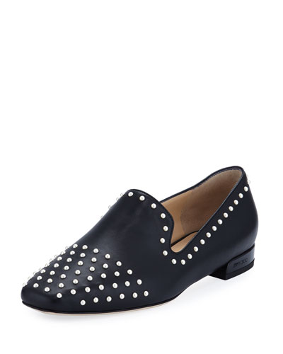 Jaida Flat Studded Leather Loafer