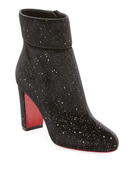 Christian Louboutin Moula Max Glittered Red Sole Bootie