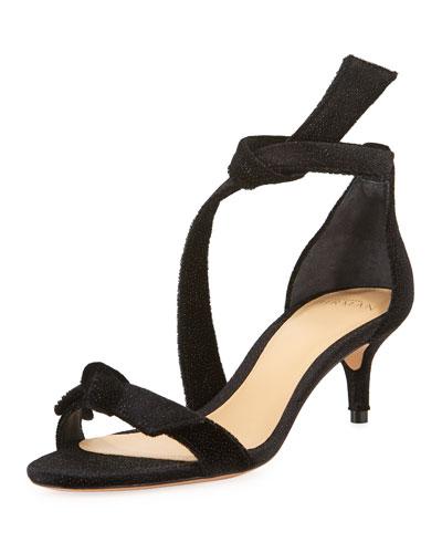 Clarita 50mm Shimmer Fabric Bow Sandals