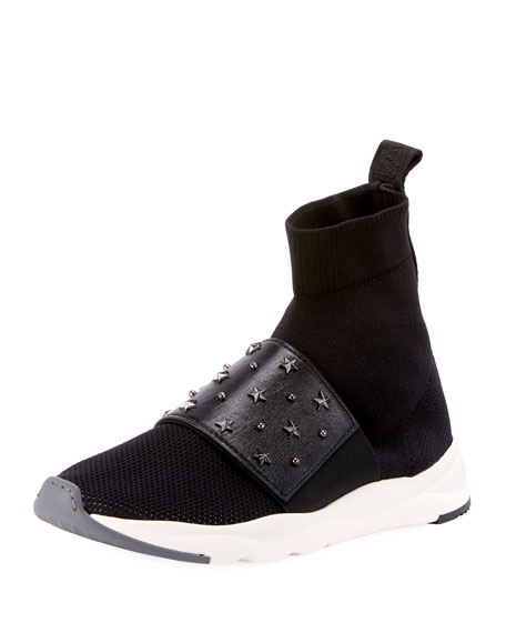 Cameron Studded Mesh Sneakers, Black