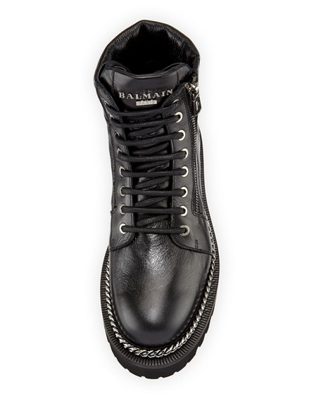 Chain-Trim Leather Army Boot