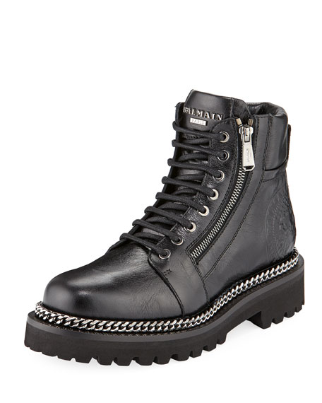 Balmain Chain-Trim Leather Army Boot
