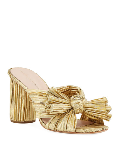 Penny Pleated Lamé Slide Sandal