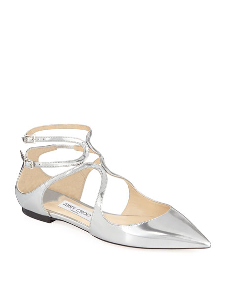 Jimmy Choo Lancer Metallic Leather Flat