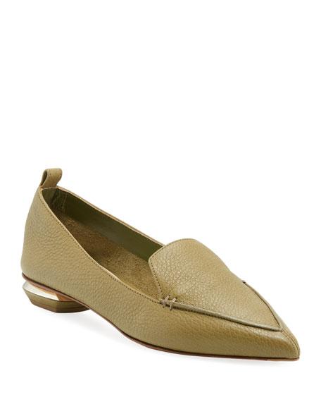 Nicholas Kirkwood Beya Flat Pebbled Leather Loafers