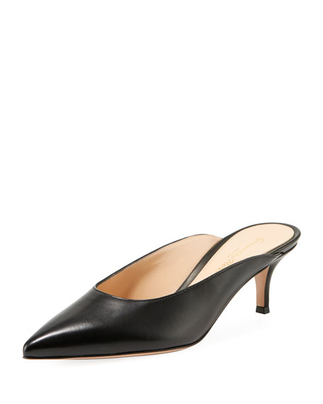 Image 1 of 1: Low-Heel Napa Leather Dip-Vamp Mule