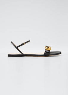 52ec2a3b2 Gucci Marmont Flat Double-G Leather Sandals