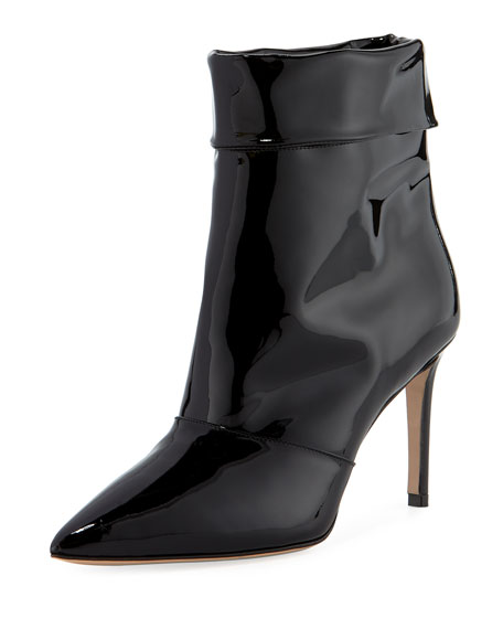 Banner 55Mm Patent Fold-Over Booties, Black