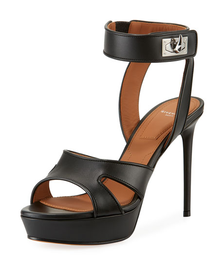 3eaf64f573c0 Givenchy Shark-Lock Leather Platform Sandal