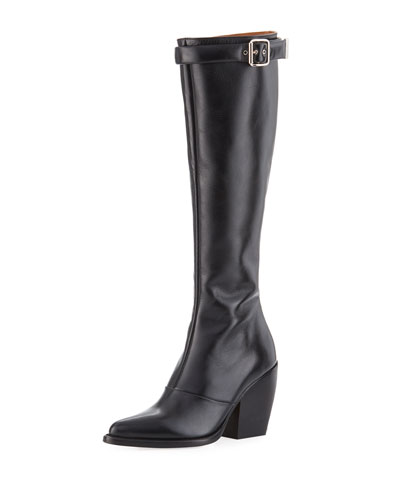 Rylee 90mm Block-Heel Buckle Knee Boot