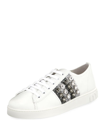 Jeweled Leather Platform Low-Top Sneakers