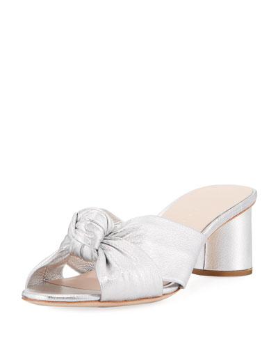 Celeste Metallic Leather Block-Heel Slide Sandals