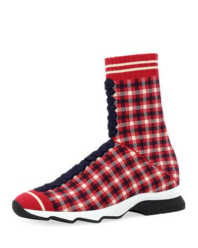 Rockoko Plaid Sock Sneakers
