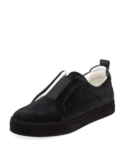 Slider Velvet Slip-On Low-Top Sneakers
