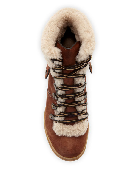 See by Chloe Fur-Lined Lace-Up Booties